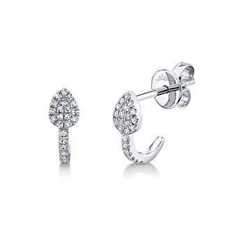 Shy Creation Kate 14ct White Gold Diamond 1/2 Hoop Earrings - Product number 1181300