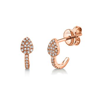 Shy Creation 14ct Rose Gold Diamond 1/2 Hoop Earrings - Product number 1181327