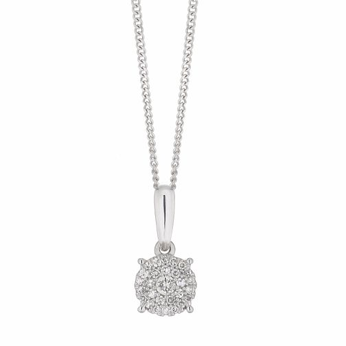 9ct White Gold 1/10ct Diamond Cluster Pendant - Product number 1182013