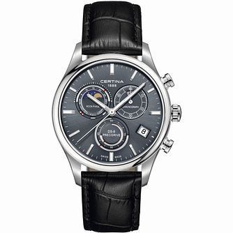 Certina Men's Moonphase Black Leather Strap Watch - Product number 1182250