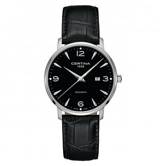 Certina Caimano Men's Black Leather Strap Watch - Product number 1182293