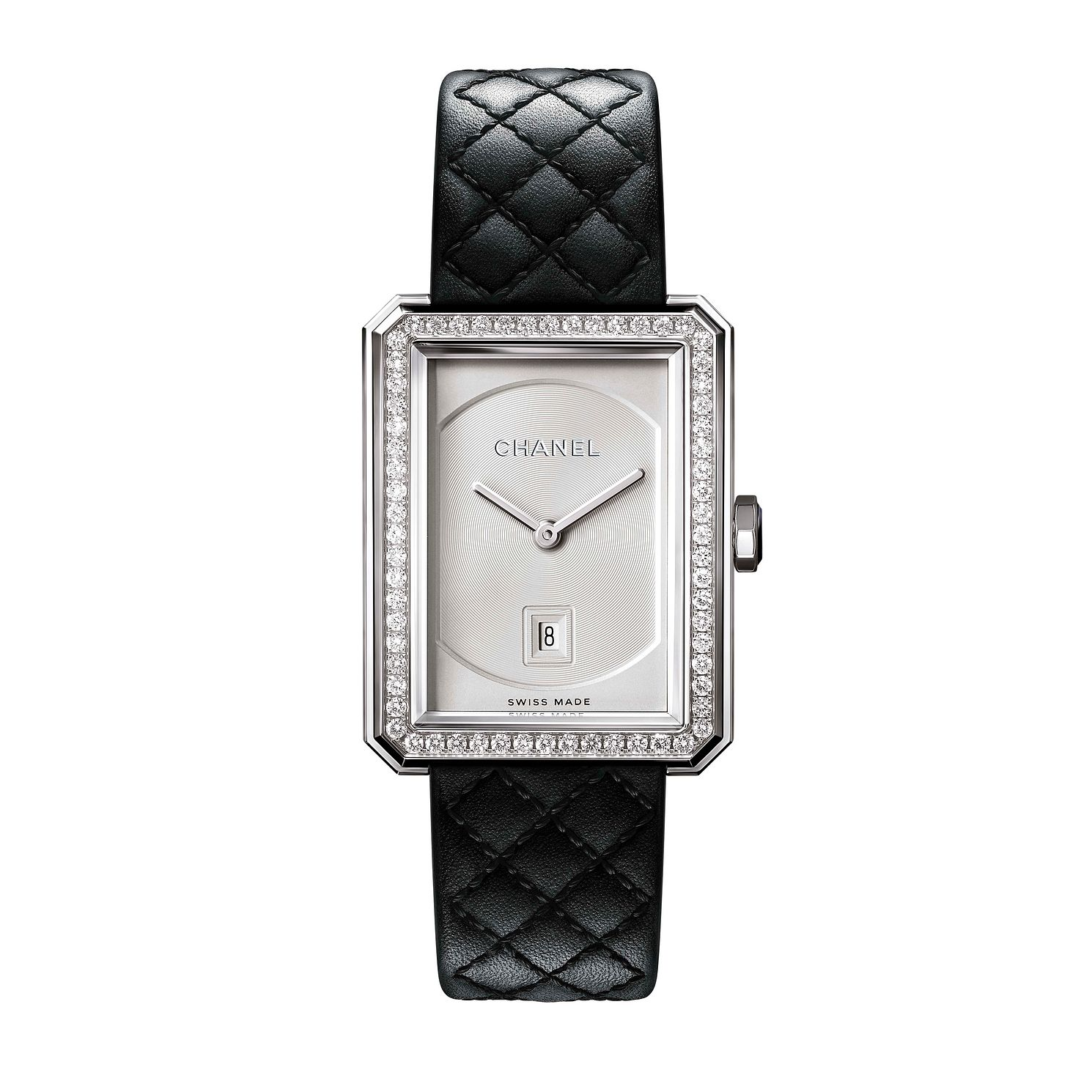 Chanel Boy-Friend Ladies' Black Quilted Leather Strap Watch - Product number 1184369