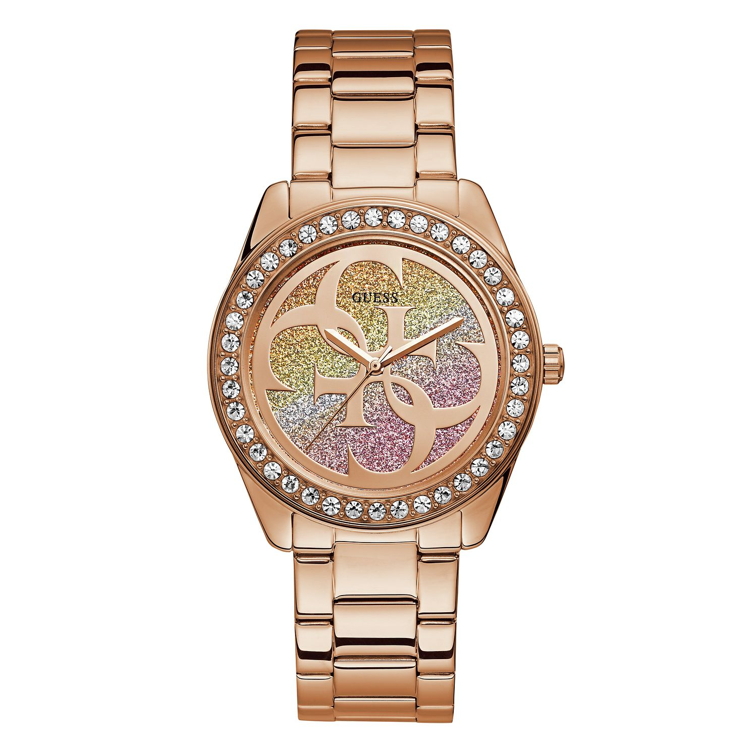 Guess G-Twist Crystal Ladies' Rose Gold Tone Bracelet Watch - Product number 1184377