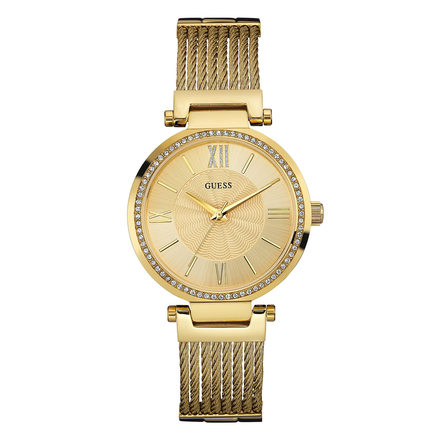 Guess Soho Crystal Ladies' Yellow Gold Tone Bracelet Watch - Product number 1184385