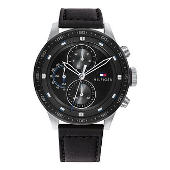 Tommy Hilfiger Trent Men's Black Leather Strap Watch - Product number 1184490