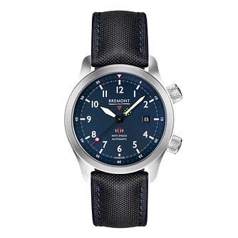 Bremont MBII Men's Black & Blue Leather Strap Watch - Product number 1184679