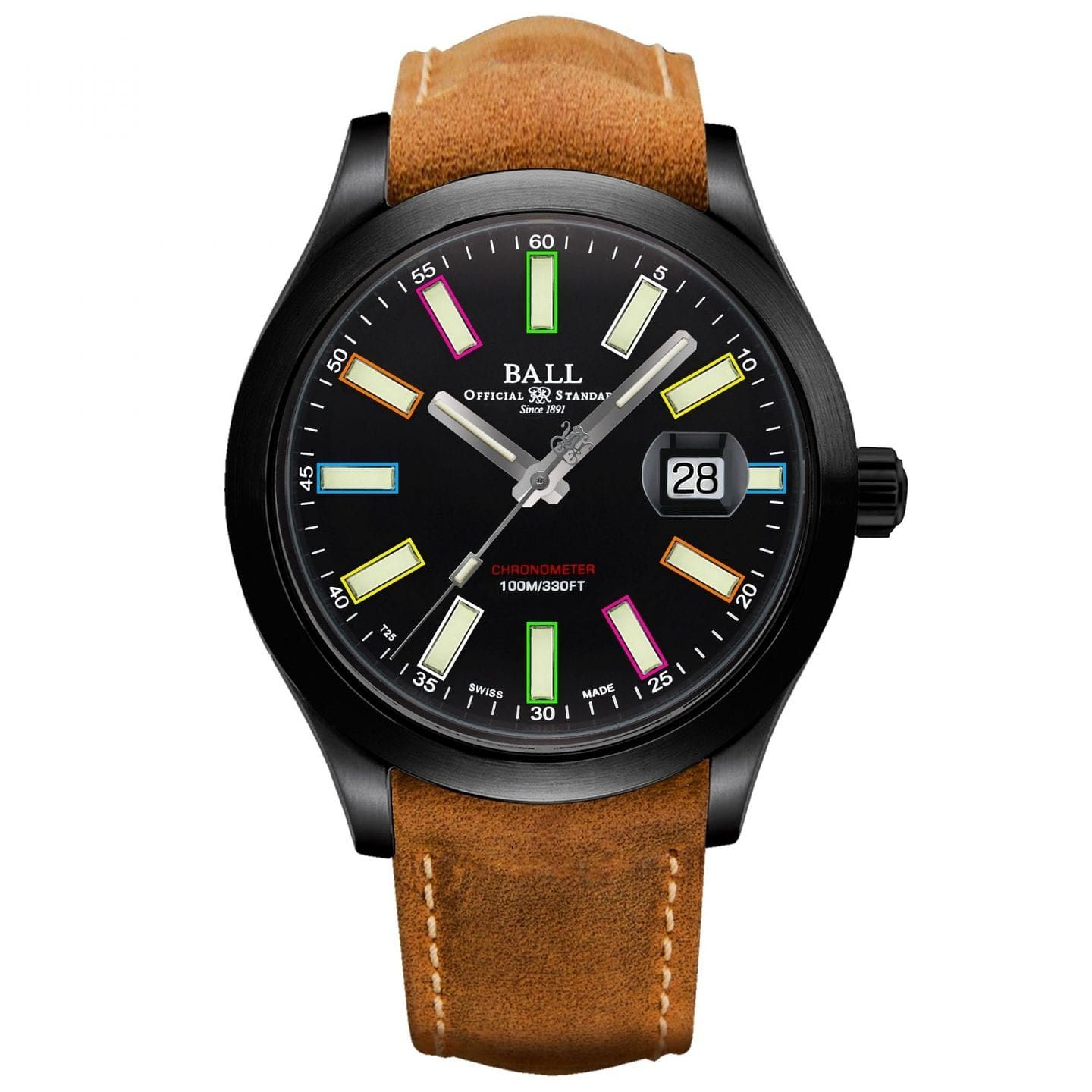 Ball Engineer II Men's Brown Leather Strap Watch - Product number 1184733
