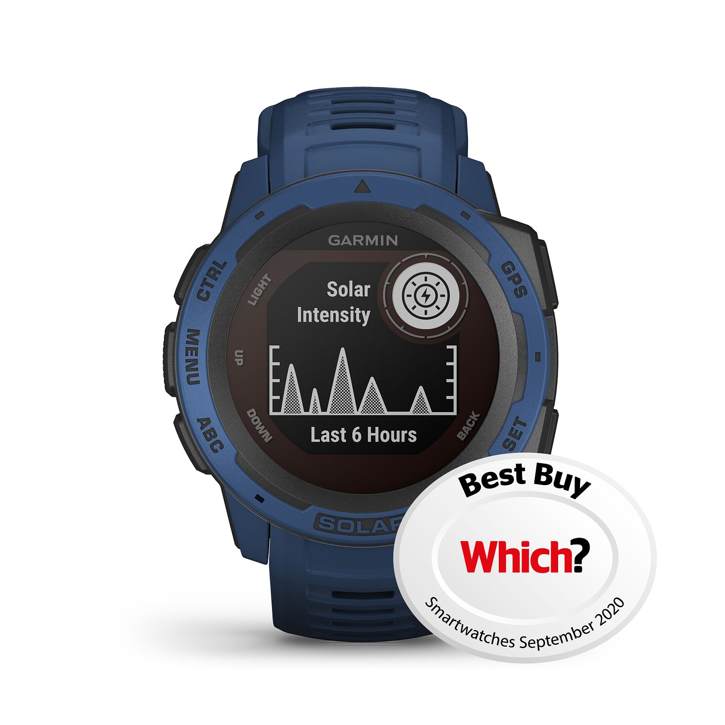 Garmin Instinct Solar GPS Tidal Blue Silicone Strap Watch - Product number 1184822