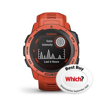 Garmin Instinct Solar GPS Flame Red Silicone Strap Watch - Product number 1184857