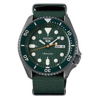 Seiko 5 Sports Men's Green Fabric Strap Watch - Product number 1185020