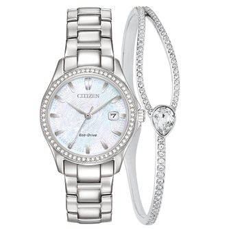 Citizen Silhouette Crystal Watch & Bracelet Gift Set - Product number 1185349
