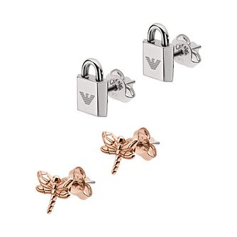 Emporio Armani Rose Gold Tone 2-Piece Stud Earring Set - Product number 1186191