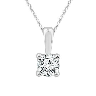 9ct White Gold 1/4ct Diamond Solitaire Pendant - Product number 1187163