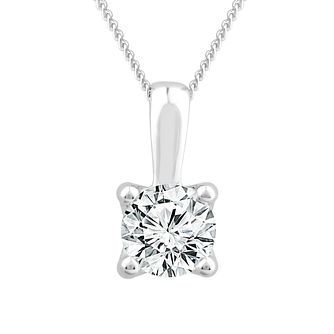 18ct White Gold 1/2ct Diamond Solitaire Adjustable Pendant - Product number 1187309