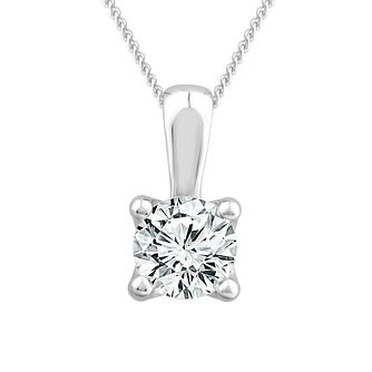 18ct White Gold 3/4ct Diamond Solitaire Adjustable Pendant - Product number 1187333