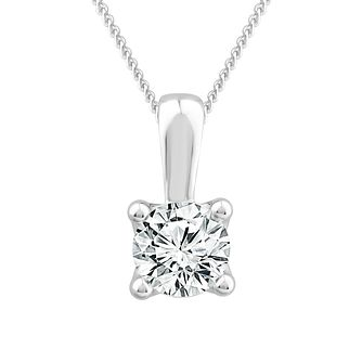 18ct White Gold 1ct Diamond Solitaire Adjustable Pendant - Product number 1187376