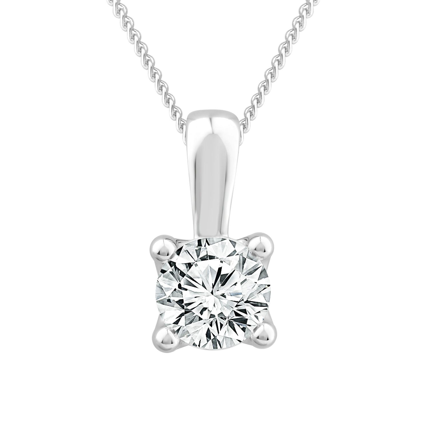 9ct White Gold 1ct Diamond Solitaire Pendant - Product number 1187384
