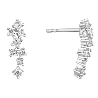 9ct White Gold 1/3ct Diamond Scatter Earrings - Product number 1190490