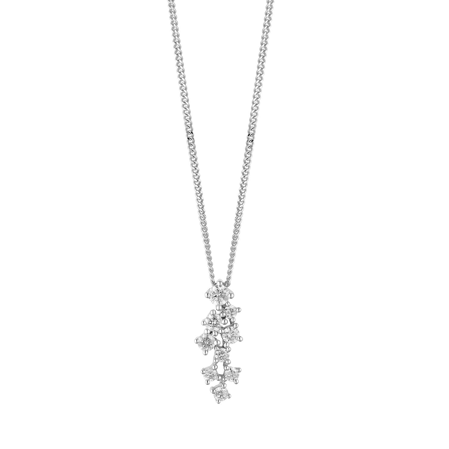 9ct White Gold 1/5ct Diamond Scatter Pendant - Product number 1190504