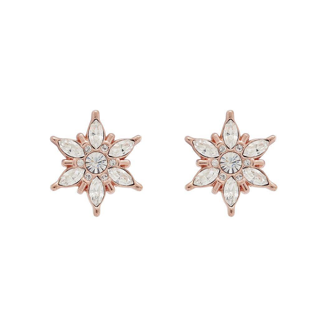Olivia Burton Snowflake Rose Gold Tone Crystal Stud Earrings - Product number 1191535