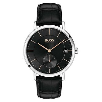 BOSS Corporal Men's Black Leather Strap Watch - Product number 1191632