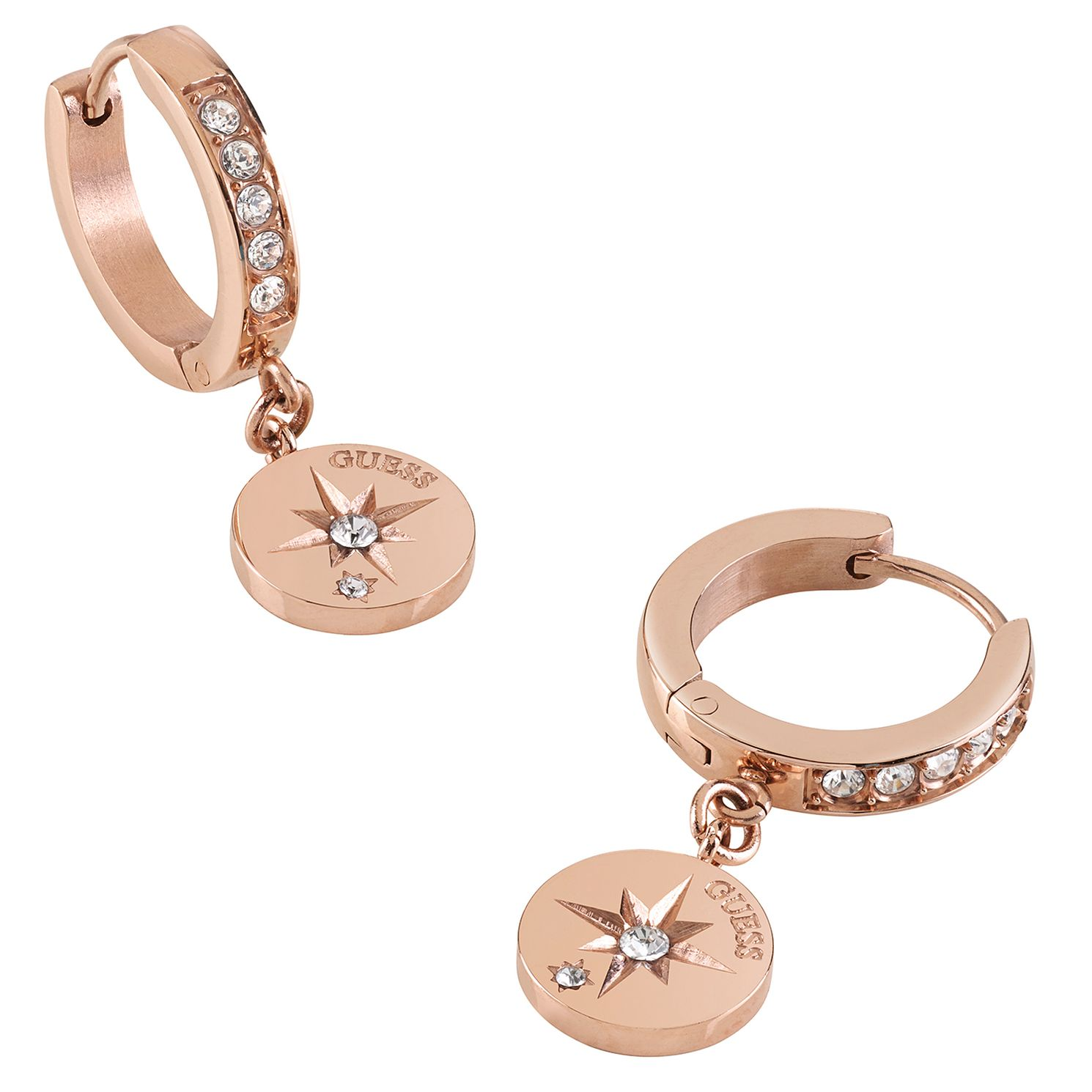 Guess Rose Gold Tone Crystal Compass Coin Hoop Earrings - Product number 1193104