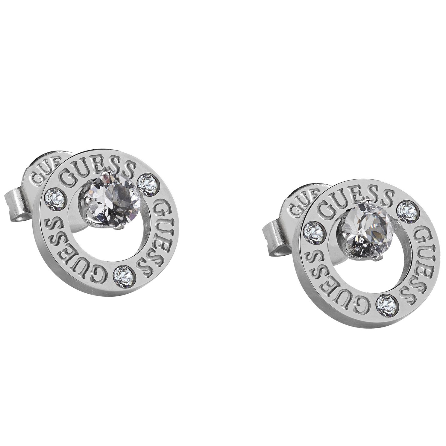 Guess Stainless Steel Crystal Round Stud Earrings - Product number 1193112