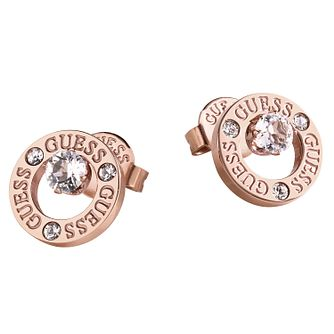 Guess Rose Gold Tone Crystal Round Stud Earrings - Product number 1193139