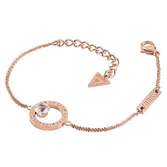Guess Rose Gold Tone Crystal Round Bracelet - Product number 1193260