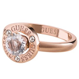 Guess Rose Gold Tone Crystal Round Ring - Product number 1193449