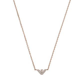 Emporio Armani Rose Gold Tone Crystal Necklace Earrings - Product number 1193694