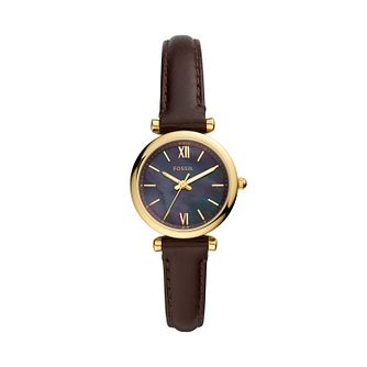 Fossil Carlie Mini Ladies' Dark Brown Leather Strap Watch - Product number 1193872