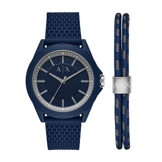 Armani Exchange Men's Blue Watch & Bracelet Gift Set - Product number 1193902