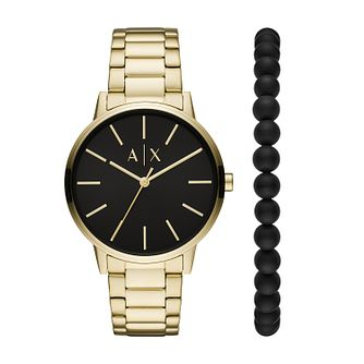Armani Exchange Men's Gold Tone Watch & Bracelet Gift Set - Product number 1193910