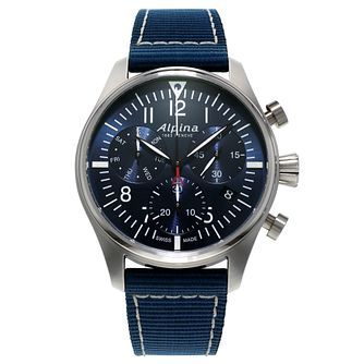 Alpina Startimer Pilot Men's Blue Nylon Strap Watch - Product number 1196138
