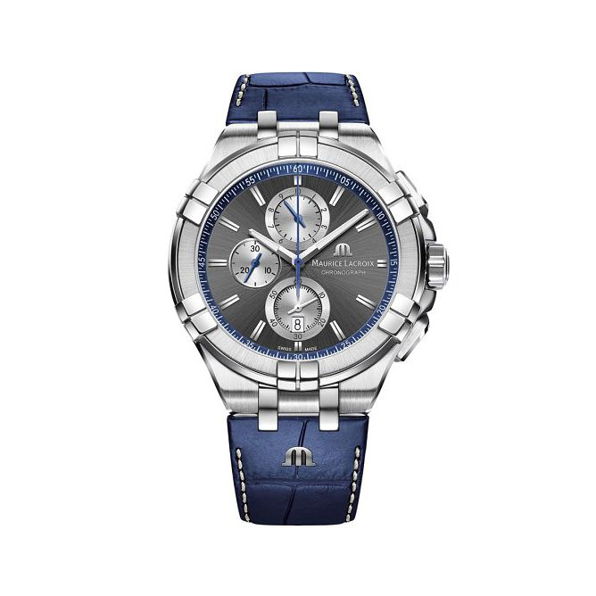 Maurice Lacroix Aikon Men's Blue Leather Strap Watch - Product number 1198343