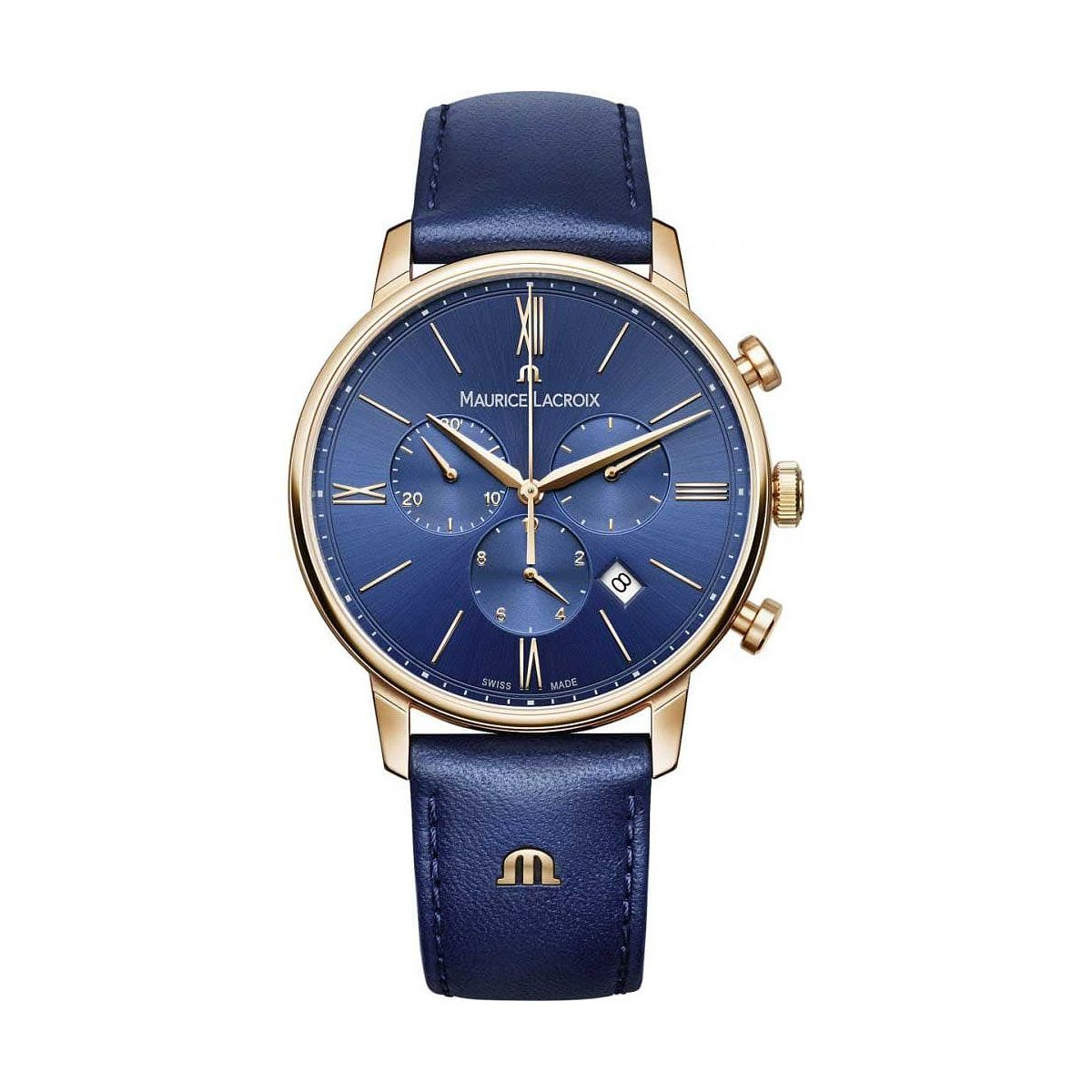 Maurice Lacroix Eliros Men's Blue Leather Strap Watch - Product number 1198416