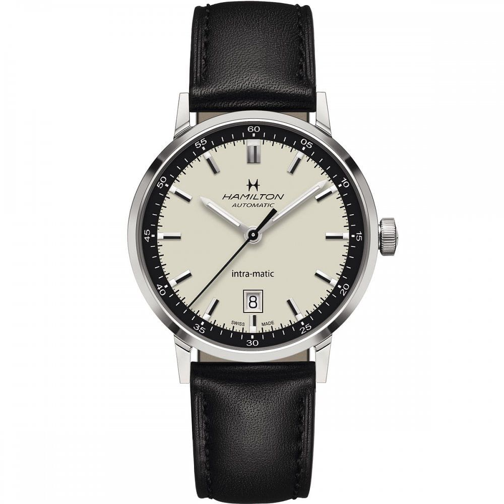 Hamilton Intra-Matic Men's Black Leather Strap Watch - Product number 1198572