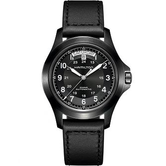 Hamilton Khaki Field King Auto Black Leather Strap Watch - Product number 1198580