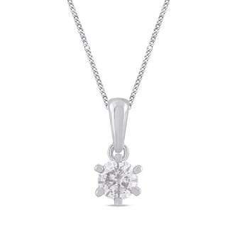 9ct White Gold 1/5ct Diamond Solitaire Pendant - Product number 1199242