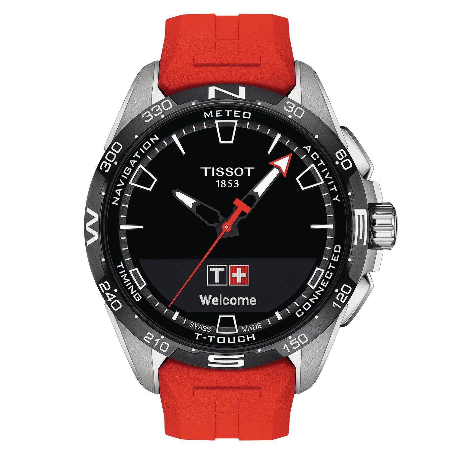 Tissot T-Touch Connect Solar Red Rubber Strap Watch - Product number 1199579
