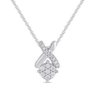 Silver 1/10ct Diamond Kiss Pendant - Product number 1201522