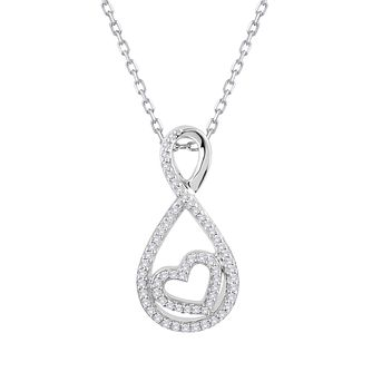 Silver 1/10ct Diamond Infinity Heart Pendant - Product number 1201530