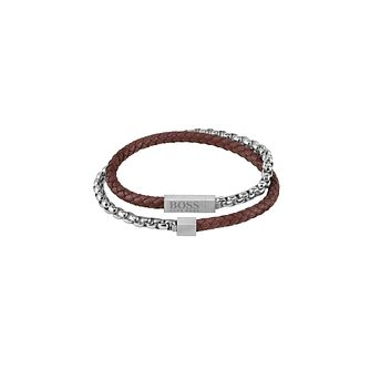BOSS Blended Men's Stainless Steel & Brown Leather Bracelet - Product number 1201565