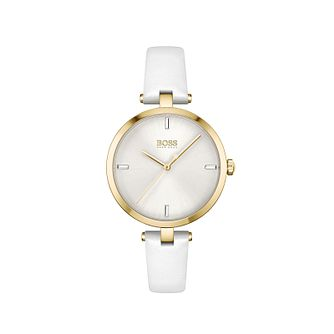 BOSS Majesty Crystal Ladies' White Leather Strap Watch - Product number 1201751