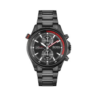 BOSS Globetrotter Men's Black IP Bracelet Watch - Product number 1201794