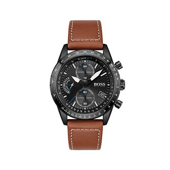 BOSS Pilot Men's Brown Leather Strap Watch - Product number 1201824