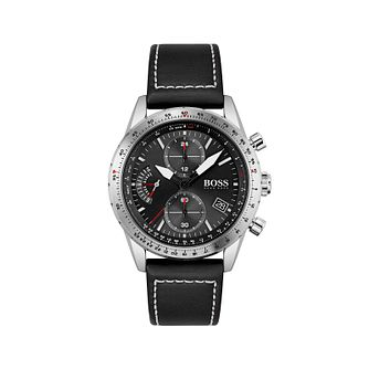 BOSS Pilot Men's Black Leather Strap Watch - Product number 1201832