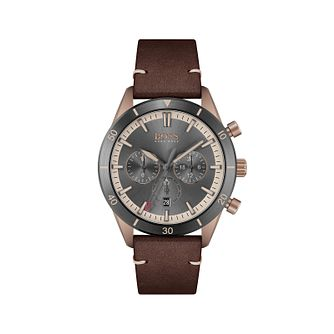 BOSS Santiago Men's Brown Leather Strap Watch - Product number 1201859