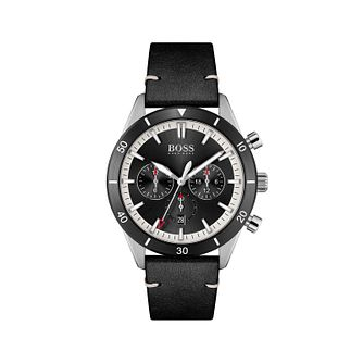 BOSS Santiago Men's Black Leather Strap Watch - Product number 1201875